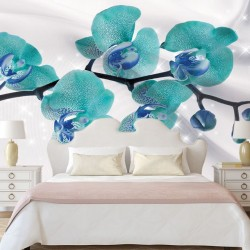 Photo mural branch orchid turquoise and silk