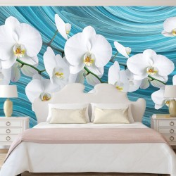 Photo mural white orchids on turquoise background abstract