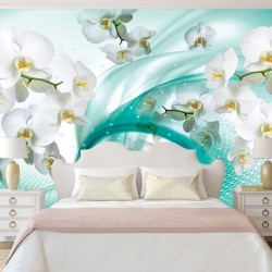 Wall murals white orchids on abstract turquoise basis 2
