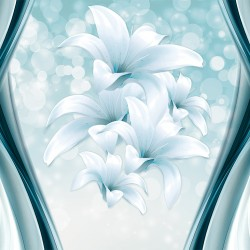 Photo Wall murals abstraction with spheres and lilies in blue range in 2 variants