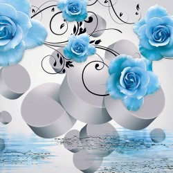 Photo Wall murals composition with blue roses and 3D elements