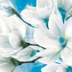 Photo Wall murals abstract composition with magnolia macro blue