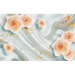 Photo mural 3D effect pale roses on silk with ornaments
