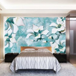 Photo Wall murals 3D porcelain flowers on a turquoise base