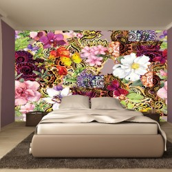 Photo mural art painted floral composition