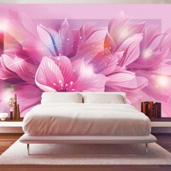 Photo mural abstract flowers in purple gamut
