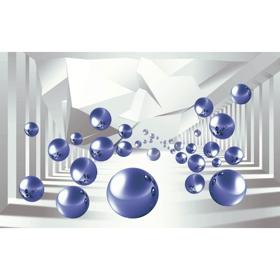 Photo mural 3D space with spheres and broken lines in 2 colors