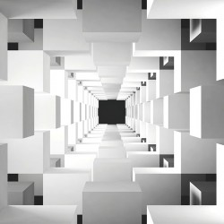 Photo mural 3d wall effect geometric cubes in a tunnel