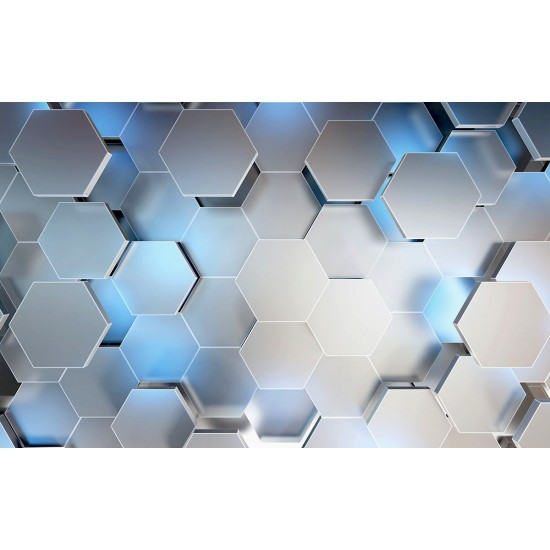 Photo mural 3D effect wall geometric radiance rhombuses in 2 colors