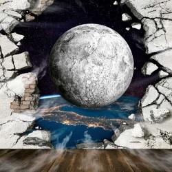 Photo mural broken wall overlooking a planet