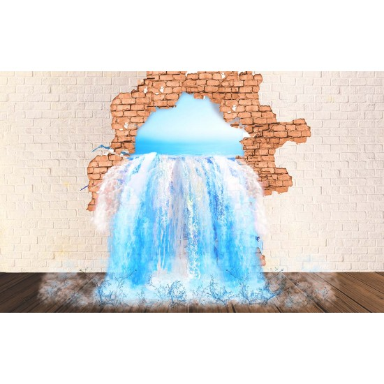 Photo mural 3d illusion of a brick wall and a waterfall