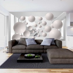 Photo mural 3D tunnel abstract with large spheres 1
