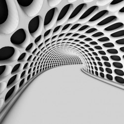 Photo mural 3D geometric two-tone tunnel in 3 variants