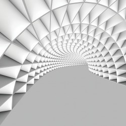 Photo mural 3D white-gray tunnel geometric shapes