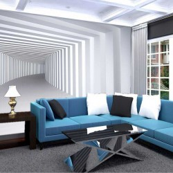 Photo mural white - gray 3d tunnel with columns