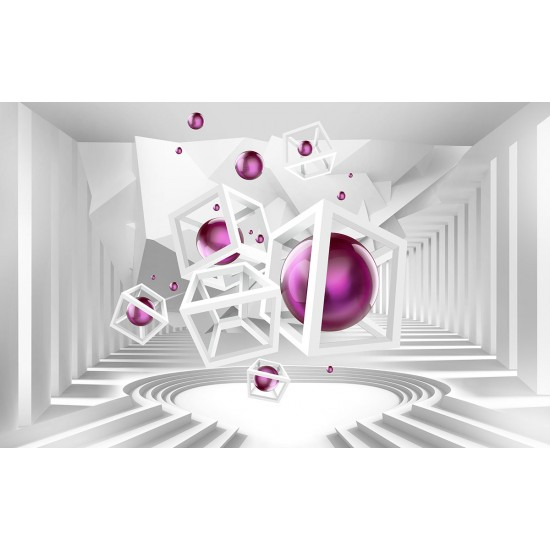 3d white tunnel labyrinth with a ball in pink and purple