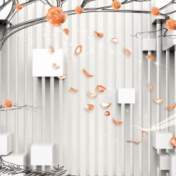 Photo mural 3d wall with graphics tree and cubic shapes in 3 colors
