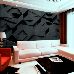 Photo mural 3D geometric wall in black and gray