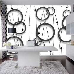 Photo mural design wall circles in black and white