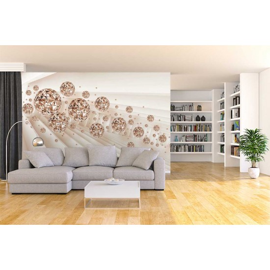 Photo mural abstract with rays of diamond in 3 colors