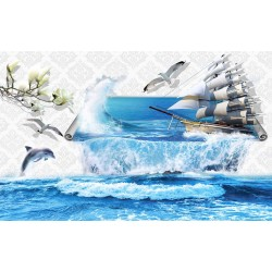 Photo mural 3d wall with overflowing sea and ship