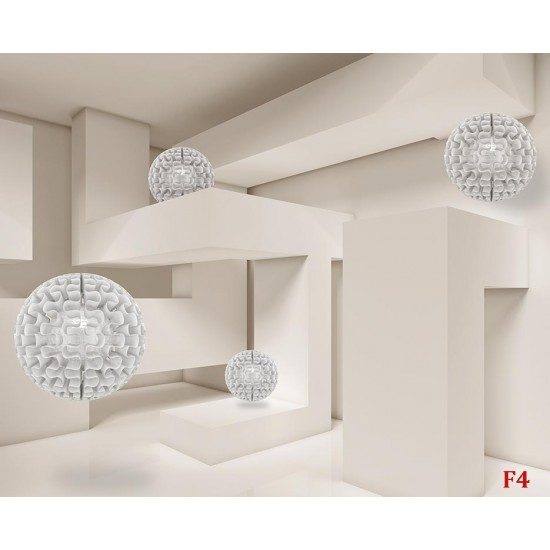 Photo mural 3d effect wall geometric labyrinth with spheres 2 colors