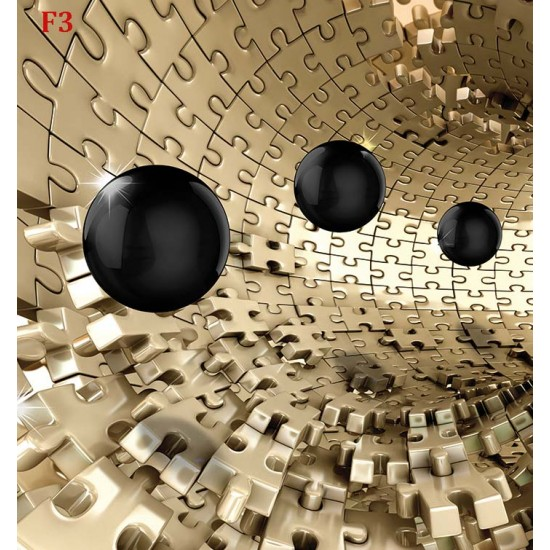 Photo mural 3d effect wall tunnel puzzle with spheres 2 colors