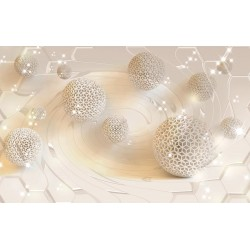 Modern photo wallpaper with 3D effect spheres in 2 colors