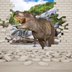 Wall mural 3D effect brick wall and dinosaur