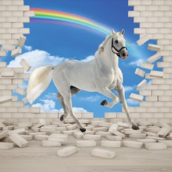 Wall mural 3D effect brick wall and white horse