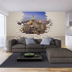 Wall murals 3d effect broken brick wall and dinosaur