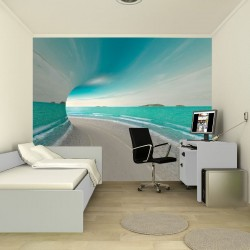Wall mural 3D tunnel with sea view and shore
