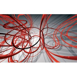 Wallpapers mural modern spirals in red and grey