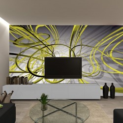 Wallpapers mural modern spirals in green and grey