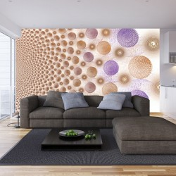 Wall mural purple and golden spheres design