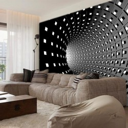 Wall mural 3D spiral tunnel in black