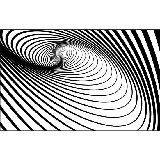 Photo mural 3D effect black and white spiral