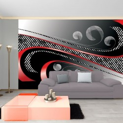 Wallpapers mural spirals in red and black