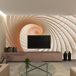 Wallpapers mural spiral in beige