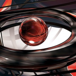 Photo mural 3d modern abstraction with a ball in red