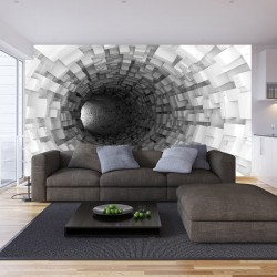 Photo murals Gray spiral tunnel cubes