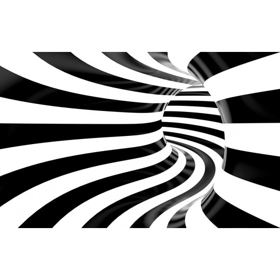 Photo mural black and white 3d spiral tunnel