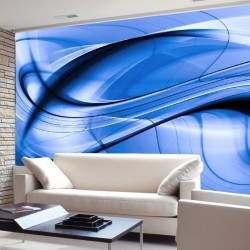 Wall mural abstract waves in blue color