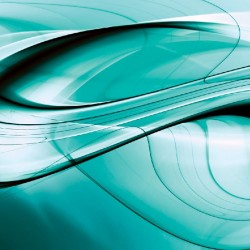 Wall mural abstract waves in grey and green color