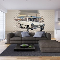 Wall murals 3d effect broken brick wall with Trabant