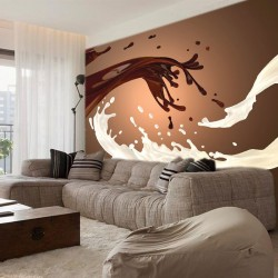 Wall mural abstract in brown colour with white milk and coffee