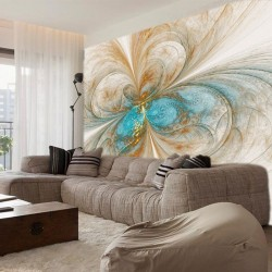 Photo mural abstraction in blue and beige shade