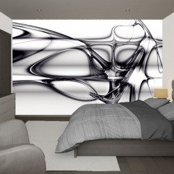 Wall murals with abstraction waves and lines in black