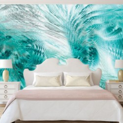 Wallpapers mural feathers in turquoise