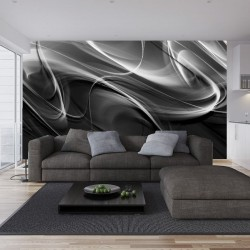 Wallpapers mural modern waves in black and grey